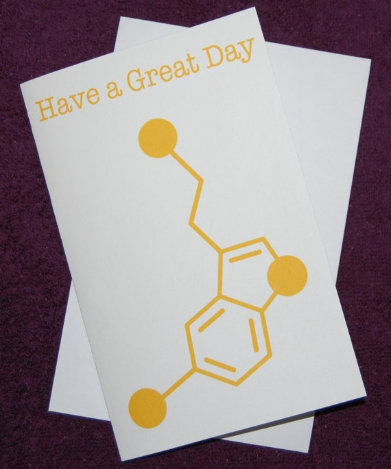 Serotonin - Have a Great Day - Chemistry Nerd Greeting Card - Yellow
