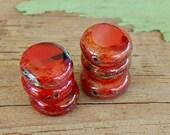 premium red coin czech glass bead : PERSIMMON SILK .. 6 beads