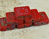 red with picasso square czech glass bead : TILE .. 6 beads