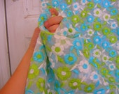 Bright Flowers Vintage Embroidered Fabric- Blue, White, Green 1960's 3 yards