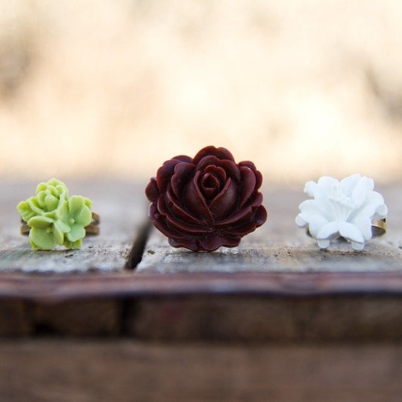 Brown Rose Flower Ring // White Lily Floral Ring // Lime Green Flower Ring // Bridesmaid Gifts