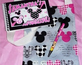 Personalized Disney Pink Polka Dot Minnie Mouse Autograph Book with Matching Bag and Pen