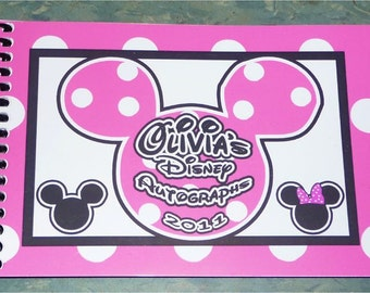 Personalized Disney Mickey and Minnie Mouse Autograph Book  - 25 Blank Card Stock Pages Your choice of color