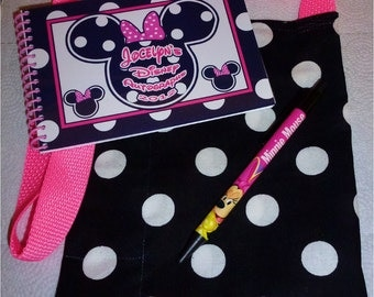 Personalized  Disney Autograph Book Pink and Black Minnie Mouse  with Matching Bag and Pen