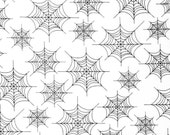 SALE 40% off Halloween fabric in spider webs- 1 yards from Eerie Alley by Robert Kaufman in black and white