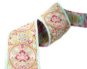 Jacquard ribbon Floral Medallions- red, pink, aqua and gold- 1 1/2 inch wide- 4 yards
