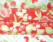 Strawberry fabric bundle- half yards set of 4 cotton quilt fabrics- in cream green and coral Free shipping (USA only)