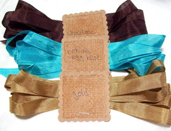 Seam binding Sepia tones of chocolate and gold with Robins egg blue 3 yards of each color, 9 yards total Super Sale up to 50% off