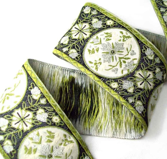 Jacquard ribbon Floral Medallions- light olive, black and cream- 1 1/2 inch wide- 2 yards
