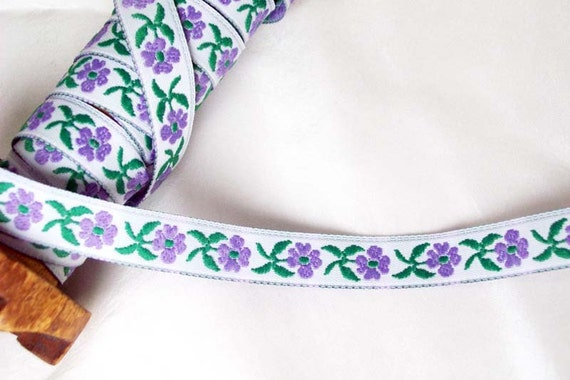 Floral Jacquard ribbon purple and kelly green on white-  1/2 inch wide- 5 yards