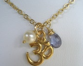 RESERVED FOR NINA***  Iolite Om Charm Necklace