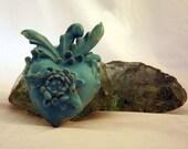 Sacred Heart,  Botanically Inspired in Light Turquoise Ceramic