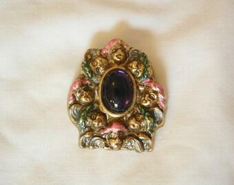 Rare Art Nouveau style women's faces purple cabochon Brooch