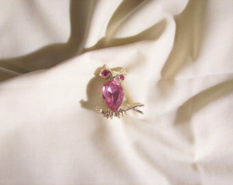 Pretty Pink faceted glass Jelly belly Rhinestone owl on a branch Brooch signed Dodds