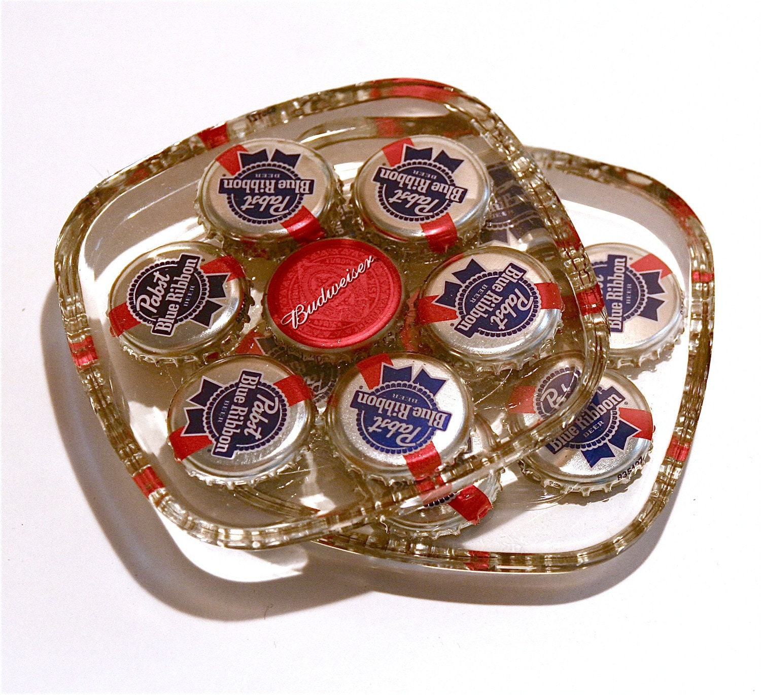 Pbr beer bottle cap coasters set of 4 for What to make with beer bottle caps