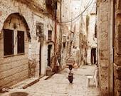 Jerusalem Muslim Quarter Morning - Fine Art Photography Print - 8x12 - alley - street scene - palestine - israel - old city - boy