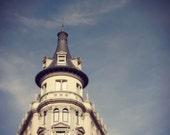 Barcelona Top Hat - Spain - Fine Art Photography Print - 5x5 - Balcony - Windows - Roof - Old Building