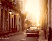 Good Morning Havana - Cuba - Fine Art Photography Print - 8x12 - Dawn - Vintage Car - Sunlight