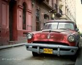 Red on Red - Havana Cuba - Fine Art Photography Print - 8x12 - Vintage Car - Street scene