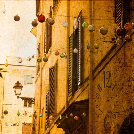 Time in a Rome Alley - Fine Art Photography Print - 8x8 - Italy - watch - clock - ornaments - street light - collage