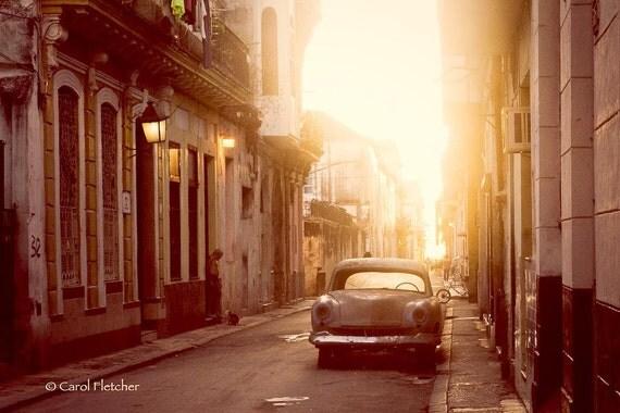 Good Morning Havana - Cuba - Fine Art Photography Print - 8x12 - Dawn - Vintage Car - Sunlight