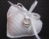 Wedding Ring Pillow - Crochet Lavender Sachet Bright WHITE Heart Free Shipping Custom Made MADE to ORDER