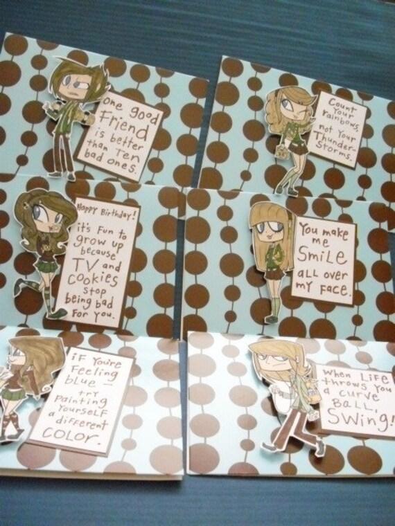 Set of 6 Emo Kids Cards