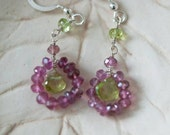 Circles of Pink Tourmaline and Peridot Sterling Silver Earrings