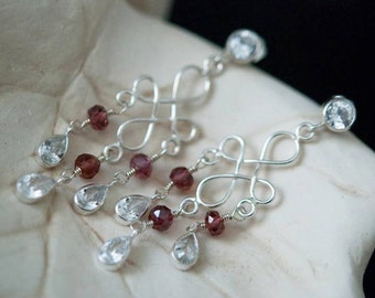 Dazzling CZ Diamond and AAA Garnet Sterling Silver Earrings