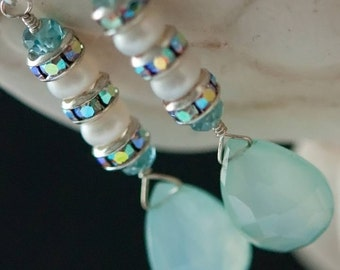 Soft and Creamy Aqua Chalcedony, Swarovski Crystal and Freshwater Pearl Sterling Earrings