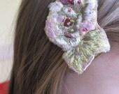 Flower Alligator Hair Clips set of 2, olive, pink, green, white, golden
