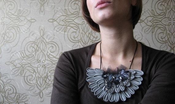 Necklace origami linen blossom Light grey, black, silver unique bib, lace, cahin, pearls, rhinestone