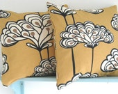 Handmade Pair of Pillow Cushion Covers in Mustard Salsa Fabric