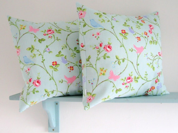 Pair of 16 inch Cushion Covers in Bird Trail Seafoam Cotton Fabric by Clarke and Clarke UK