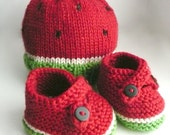 NEW SOFT Beech Wood, Pima Cotton Fibers - WATERMELON Baby Beanie and Booties Set...Choose your Size