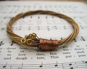 Recycled Acoustic Guitar String Bracelet bronze colored with brass ball ends attached Mens or Womens UNIQUE Gift Custom Orders Available