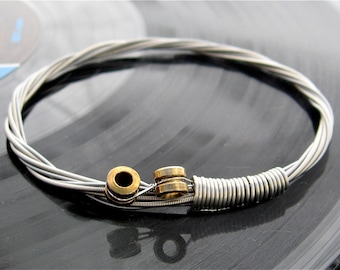 Recycled Bass Guitar String Bracelet with brass ball ends attached Unisex Musician gift Mens or Womens