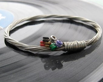 Recycled Electric Guitar String Bracelet silver colored with colored ball ends attached Unisex Musician Gift