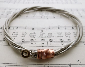All About That Bass Recycled Bass Guitar String Bracelet with brass ball end Unisex Gift Custom orders available