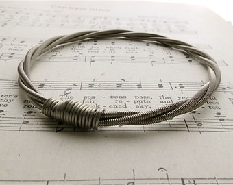 Recycled Bass Guitar String Bracelet without brass ball end Unisex Worldwide Shipping Anniversary Gift