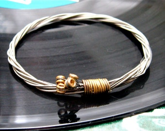 Recycled Electric Guitar String Bracelet silver colored with brass ball ends attached Unisex Christmas Gift CUSTOM Orders Available