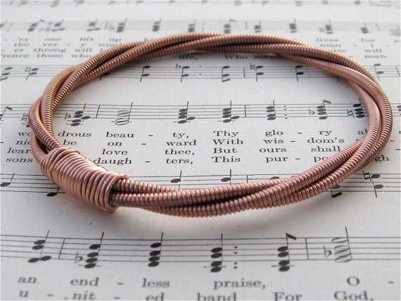 Recycled PIANO String Bracelet copper colored mens or womens Vintage One of a Kind Gift