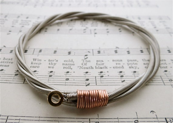 all about that bass recycled bass guitar string bracelet with. Black Bedroom Furniture Sets. Home Design Ideas