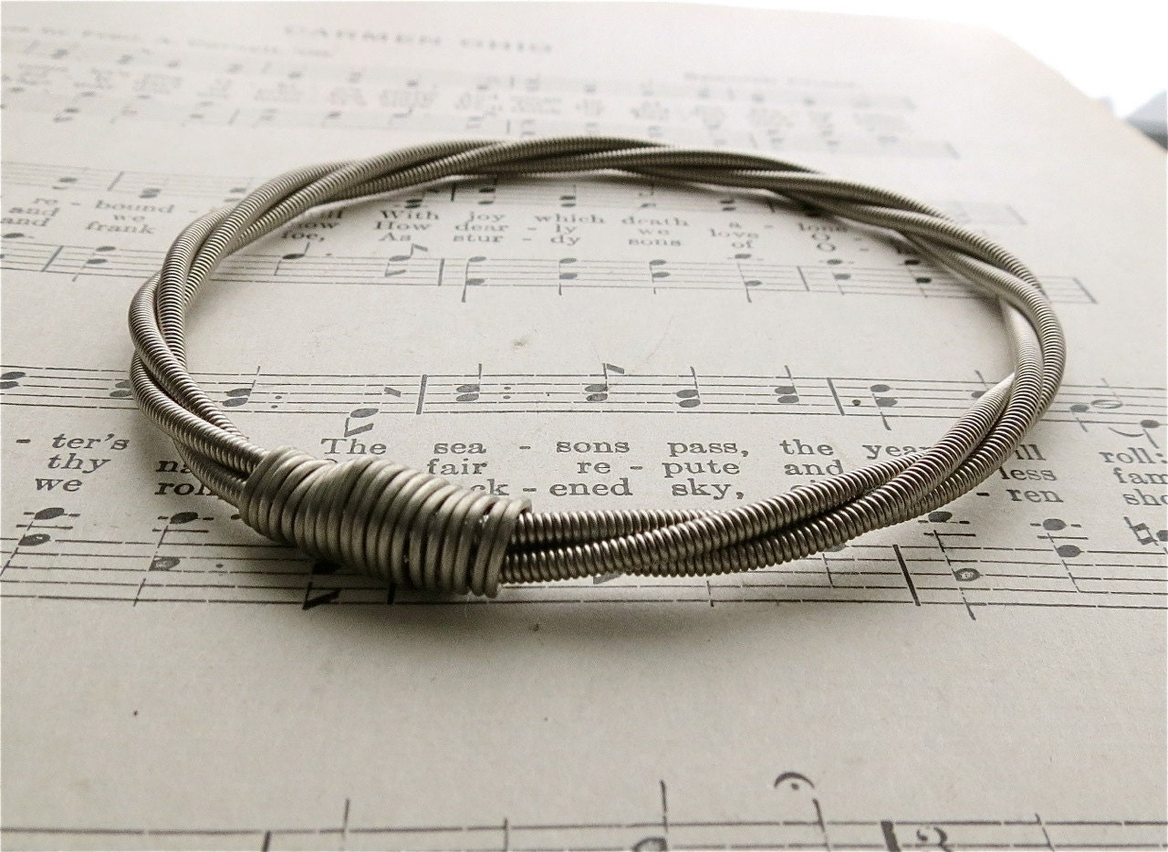 recycled bass guitar string bracelet without brass ball end. Black Bedroom Furniture Sets. Home Design Ideas