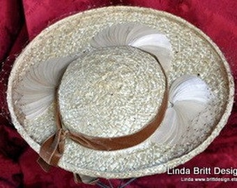 1940 Vintage Straw Hat with Fan Details