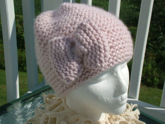 Dusty Pink Cashmere Hat with Bow