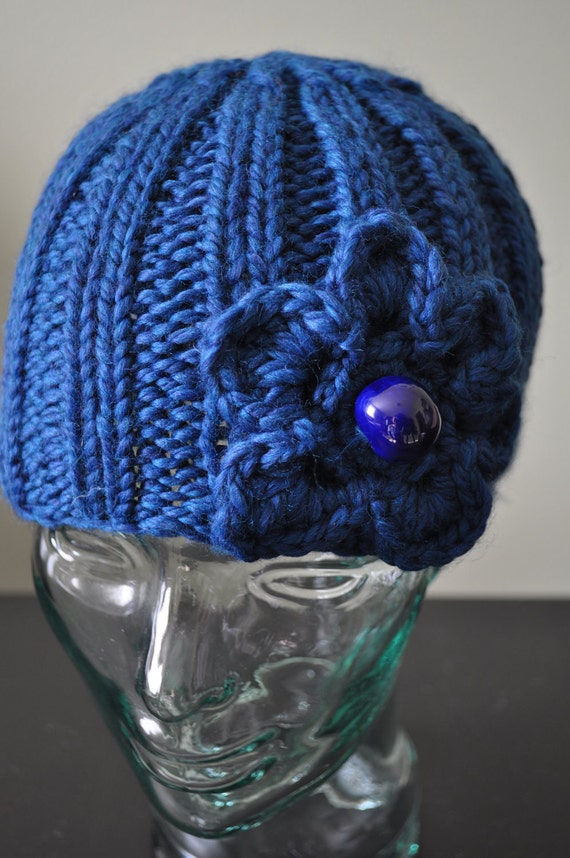 Sapphire Hat  with Flower