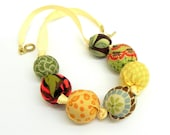 Fabric Necklace - Handmade beads - Green, red, brown, orange, teal blue and yellow