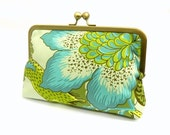 SPRING SALE  15% OFF - Seafoam, Blue,Lime green and Yellow Clutch - Amy Butler fabric