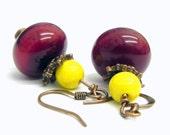 Dark red Amber resin  Earrings - Copper earwires